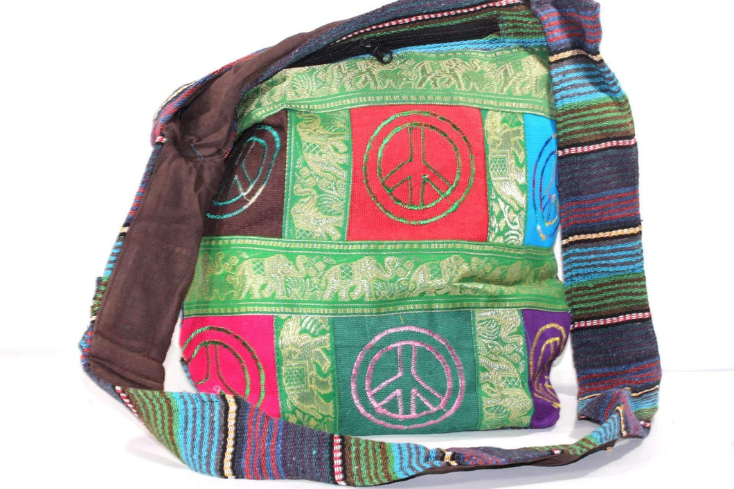 Multi Color Elephant & Peace Patchwork Jhola Sling Bag