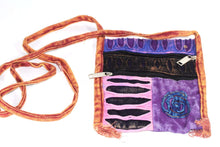 Load image into Gallery viewer, Purple Spiral Cross Body Patchwork Passport Bag by Wild Lotus