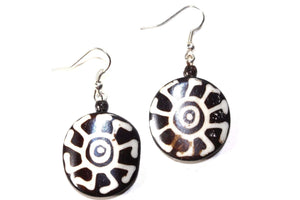 Tribal Sun Spiritual Symbols Bone & Horn Earrings
