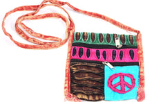 Load image into Gallery viewer, Stone Wash Peace Crossbody Patchwork Passport Bag | Wild Lotus