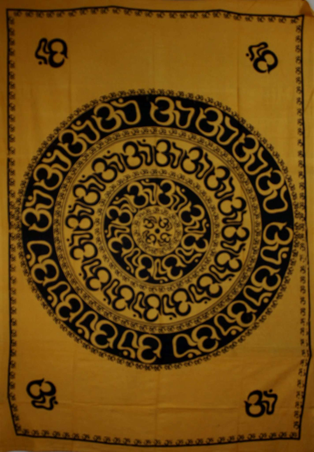 Orange Om Shanti Mandala Wall Hanging Tapestry