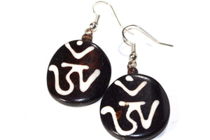 Sanskrit Om Spiritual Symbols Tribal Bone & Horn Earrings
