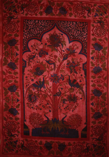 Red Tree of Life Peacock Tapestry