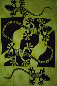 Green Tribal Salamander Tapestry