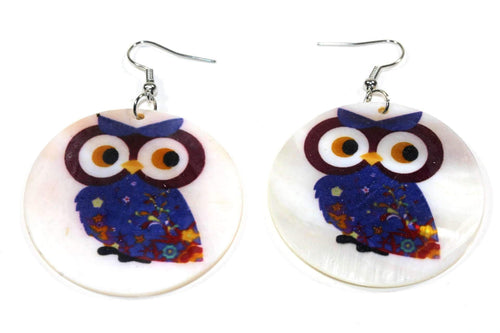 Curious Baby Owl With Flower Wings Mother Of Pearl Earrings