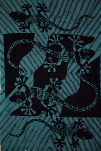 Teal Tribal Salamander Tapestry