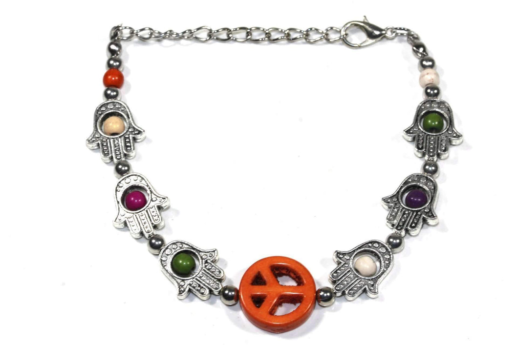 Orange Hamsa Hands & Peace Bracelet