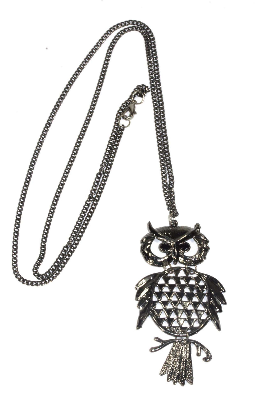 Hematite Tone Wide Eyed Owl Necklace