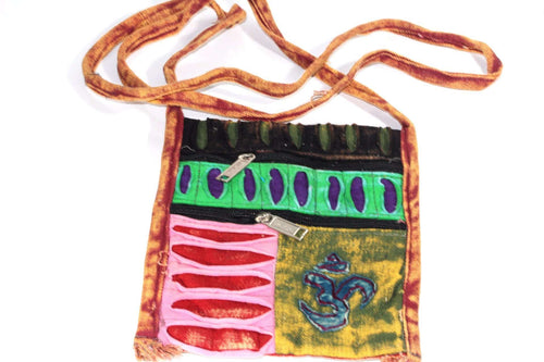 Stone Wash Om Cross Body Patchwork Jhola Bag