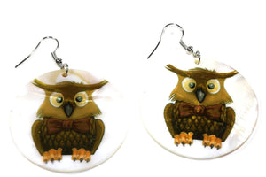White Mr. Bow Tie Owl Mother of Pearl Earrings