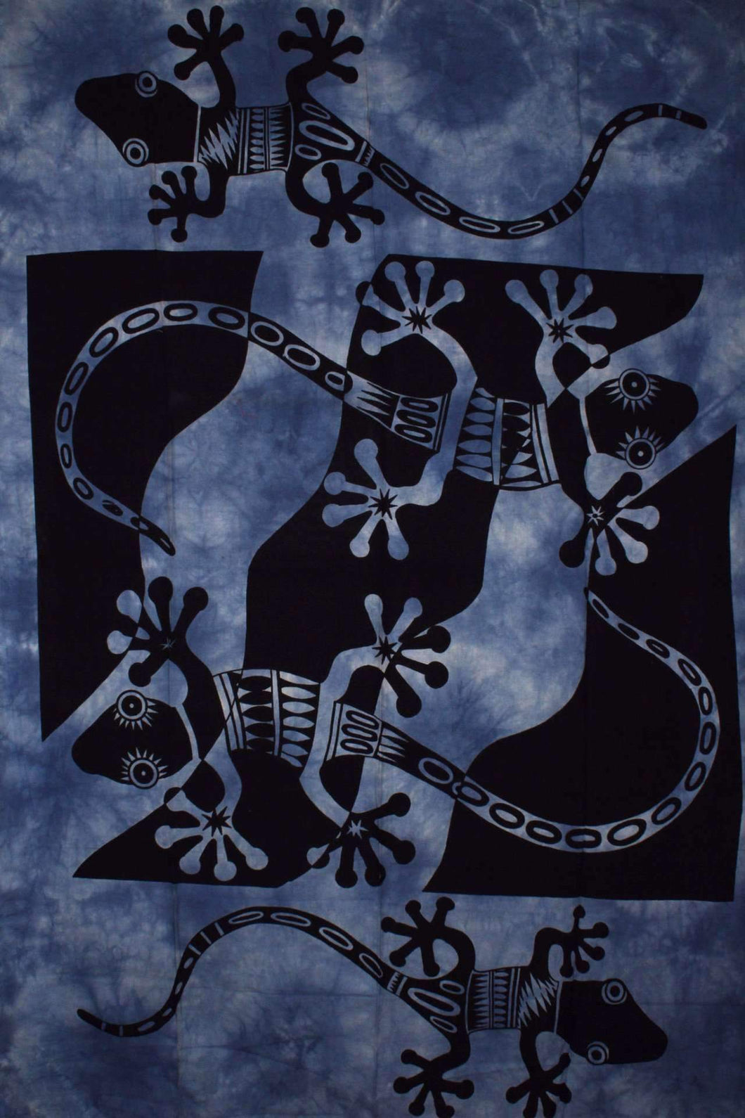 Blue Tribal Salamander Tapestry