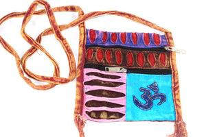Stone Wash Om Cross Body Patchwork Jhola Bag | Wild Lotus