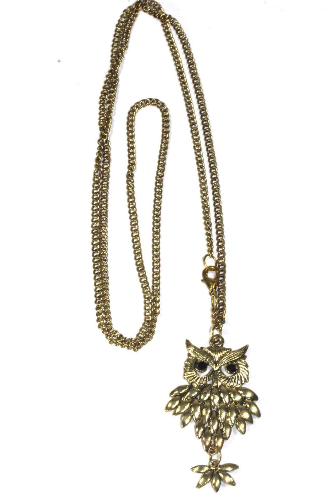 Gold Tone Rising Owl Pendant Necklace