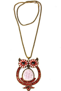 Red Big Owl Shimmer Pendant Necklace