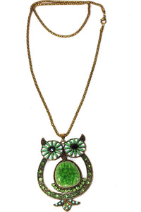 Green Big Owl Shimmer Pendant Necklace