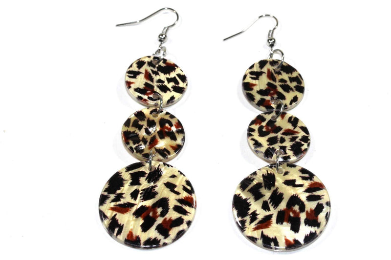 Leopard Print Three Tier Mother Of Pearl Earrings