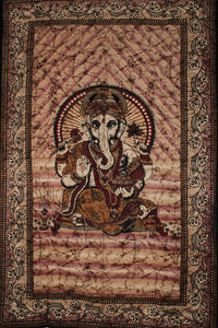 Brown & Maroon Ganesha Holding Lotus Flower Tapestry