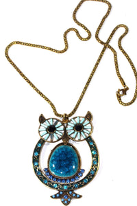 Blue Big Owl Shimmer Pendant Necklace