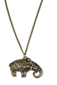 Antique Gold Festival Elephant Pendant Necklace | Wild Lotus
