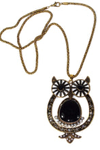 Load image into Gallery viewer, Black Big Owl Shimmer Pendant Necklace