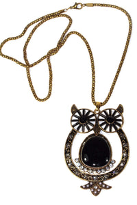 Black Big Owl Shimmer Pendant Necklace