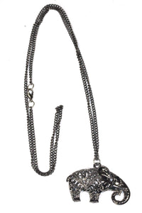 Oxidized Silver Festival Elephant Pendant Necklace