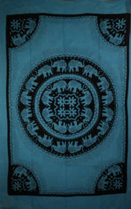 Turquoise Celebration Of Elephants Mandala Tie Dye Tapestry