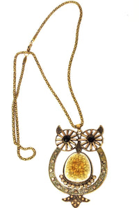 Citrine Big Owl Shimmer Pendant Necklace