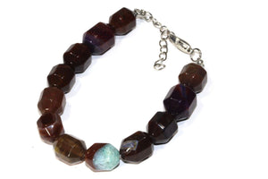 Unique Mixed Brown Quartz Chunk Yoga Bracelet