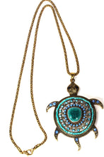 Load image into Gallery viewer, Blue Big Turtle Shimmer Pendant Necklace