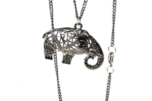 Oxidized Silver Festival Elephant Pendant Necklace | Wild Lotus