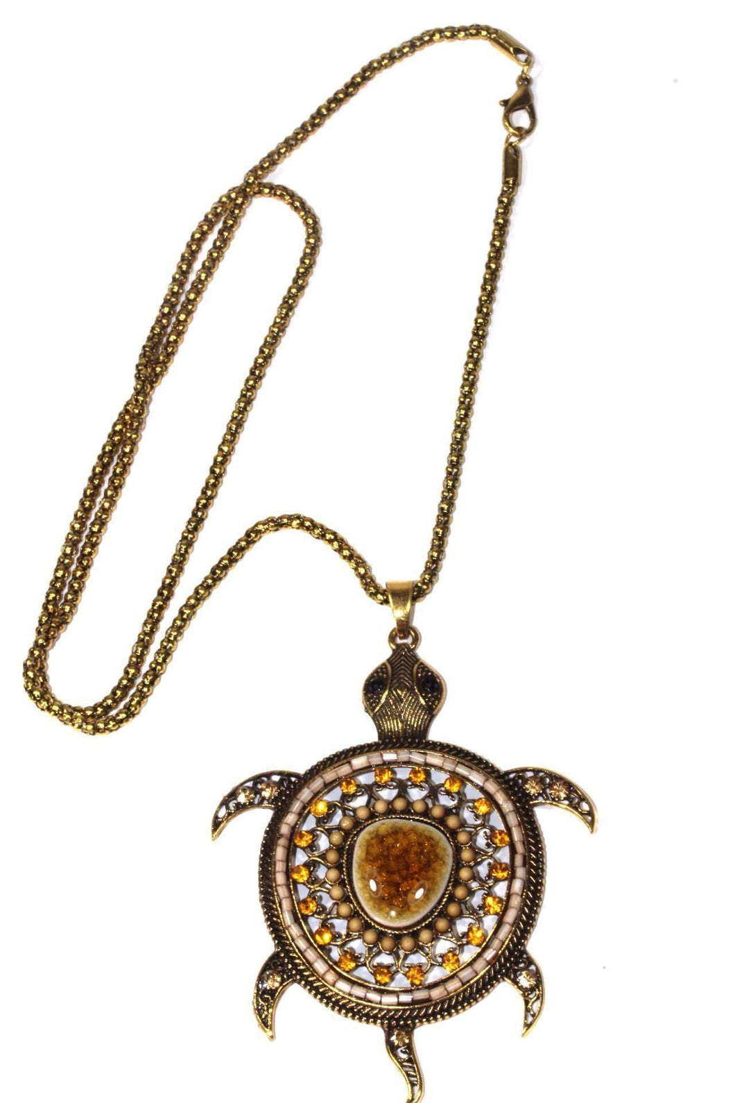Brown Big Turtle Shimmer Pendant Necklace