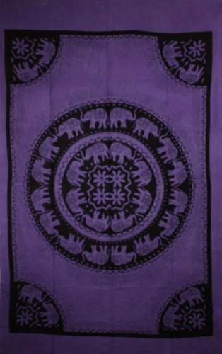 Purple Celebration Of Elephants Mandala Tie Dye Tapestry