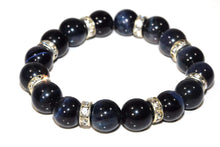 Load image into Gallery viewer, Royal Blue Agate & Pave Charms Yoga Bracelet