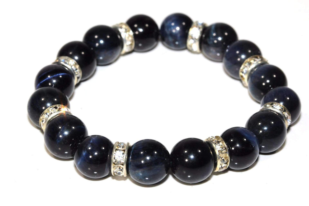 Royal Blue Agate & Pave Charms Yoga Bracelet