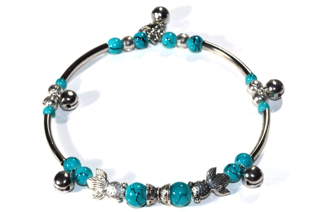 Somethings a Little Fishy Charm Turquoise Bracelet