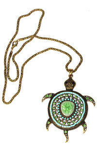 Green Big Turtle Shimmer Pendant Necklace