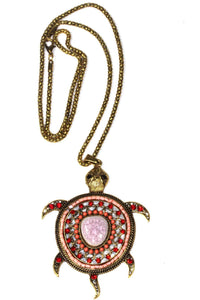 Red Big Turtle Shimmer Pendant Necklace