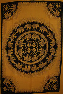 Orange Celebration Of Elephants Mandala Tie Dye Tapestry
