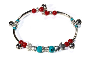 Somethings a Little Fishy Charm Red & Turquoise Bracelet