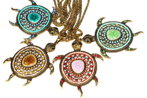 Big Turtle Shimmer Pendant Necklaces by Wild Lotus