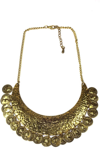 Coin & Hammered Pendant Statement Necklace