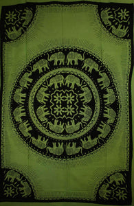 Green Celebration Of Elephants Mandala Tie Dye Tapestry