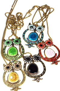 Big Owl Shimmer Pendant Necklaces by Wild Lotus