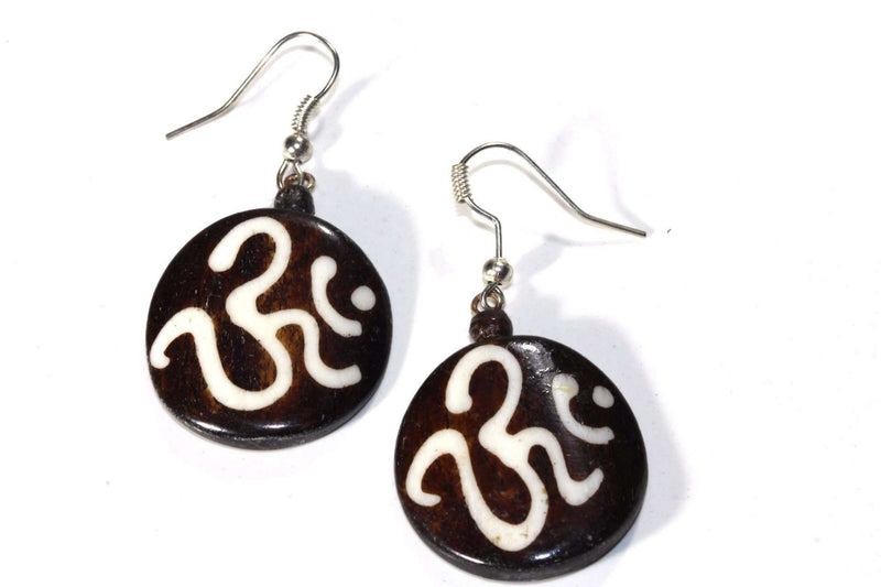 Om Spiritual Symbols Tribal Bone & Horn Earrings