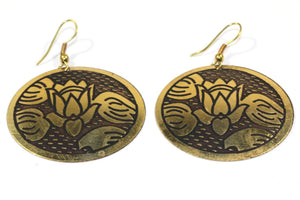Golden Lotus Flower Earrings