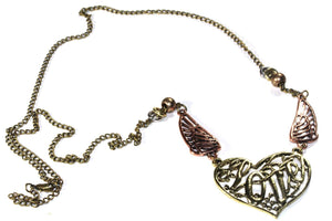 Gold/Copper Tone Soaring Love & Angel Wings Necklace