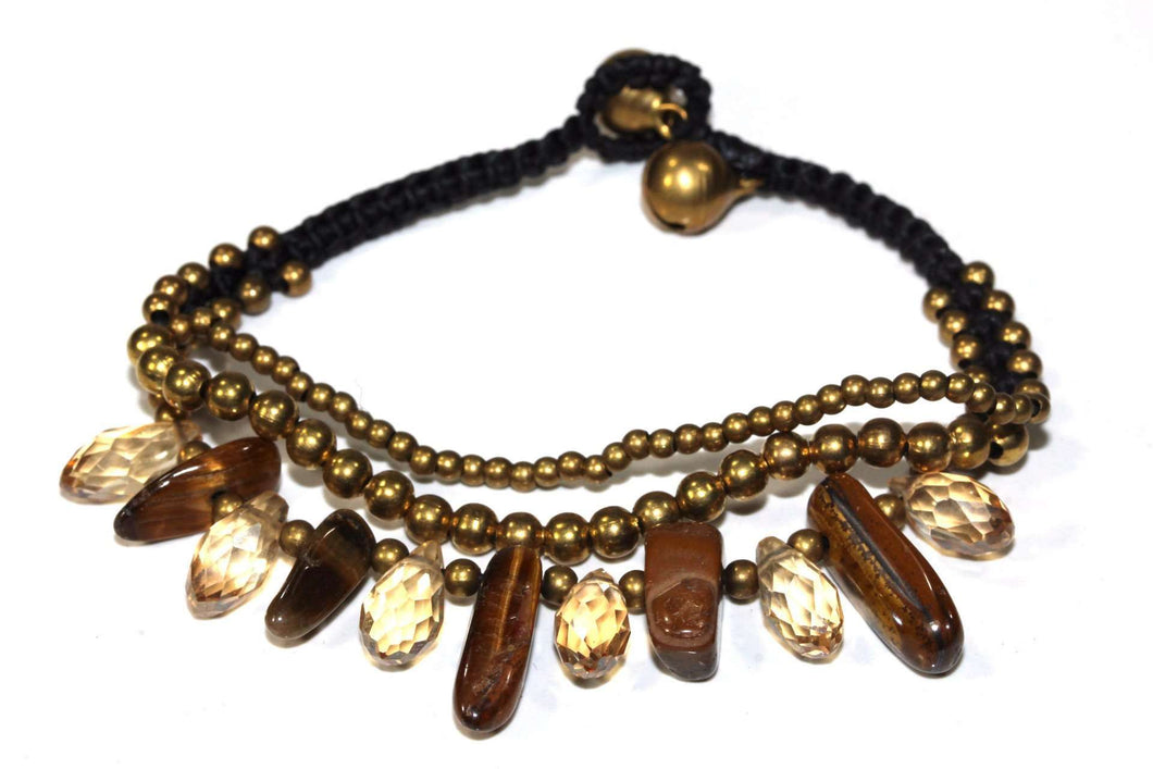 Brown Tigers Eye Gemstone & Crystals Romance Bracelet