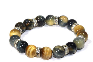 Earthy Multi Color Medley Of Round Agate Stone Sparkle Yoga Bracelet