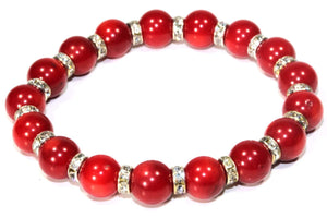Red Medley Of Round Agate Stone Sparkle Yoga Bracelet